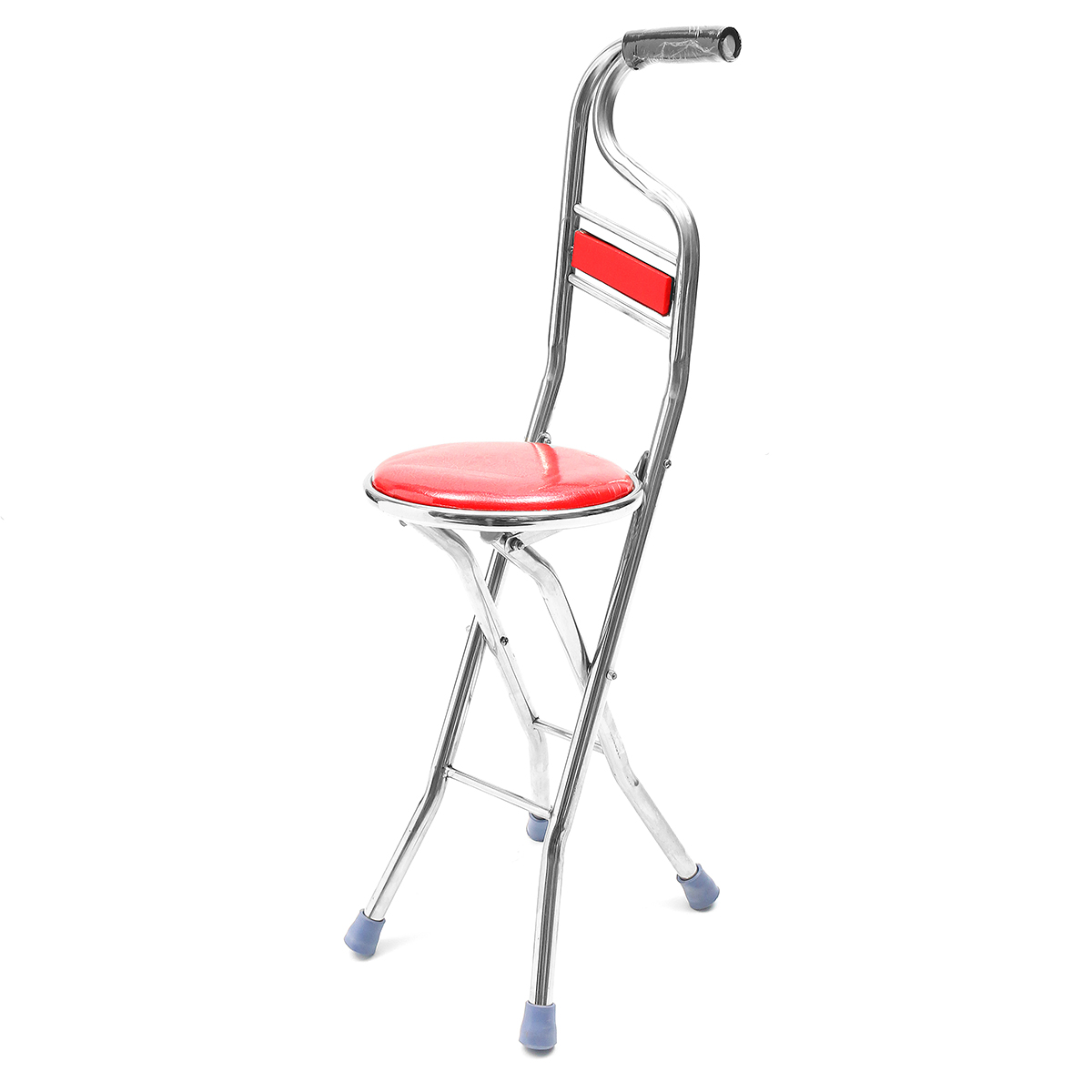 2 In 1 Walking Stick Chair Seat Adjustable Stainless Steel