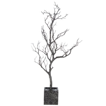 "31"" Silver Glitter Twig Tree Halloween Table Top Decoration"