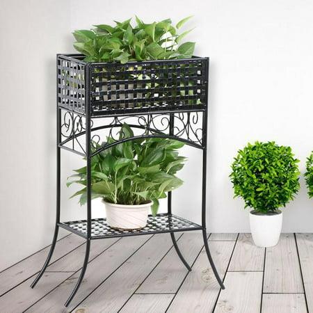 Topeakmart 2 Tier Iron Rectangular Plant Stand Black