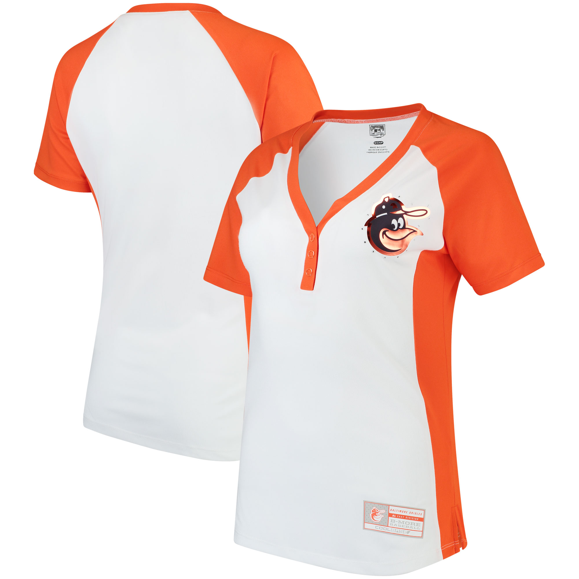 Baltimore Orioles Majestic Women's Cooperstown Collection League Diva V-Neck Henley T-Shirt - White/Orange