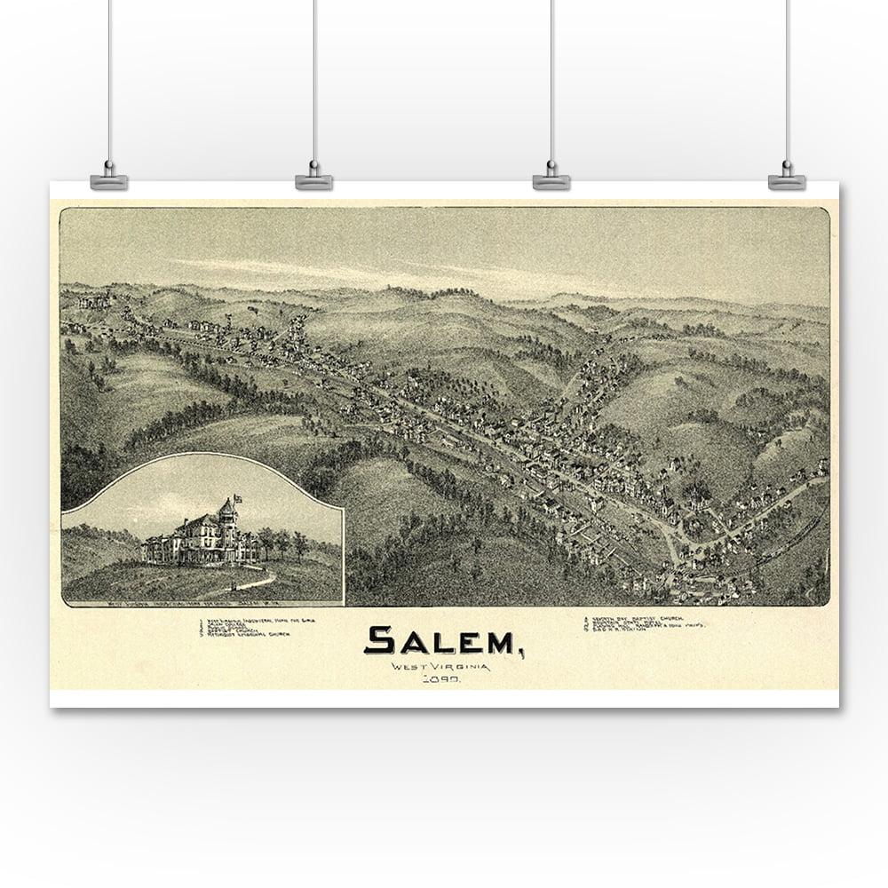 Salem, West Virginia - Panoramic Map (9x12 Art Print, Wall Decor Travel Poster)