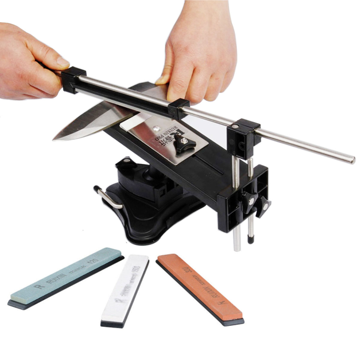 Fixed-angle Knife Sharpening Stone Sharpener Professional Kitchen Knife Sharpener Kits System 4 Sharpening Stones