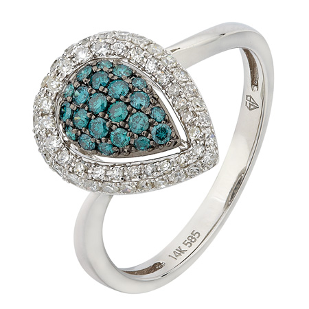 14k White Gold 0.48ct Big Teardrop Pave Set Round White and Blue Diamond Ring