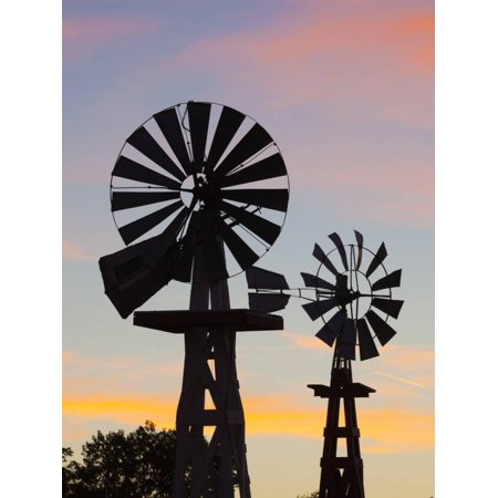 USA, Oklahoma, Elk City, Vintage Farm Windmills Print Wall Art By Walter Bibikow (Usa Windy City)