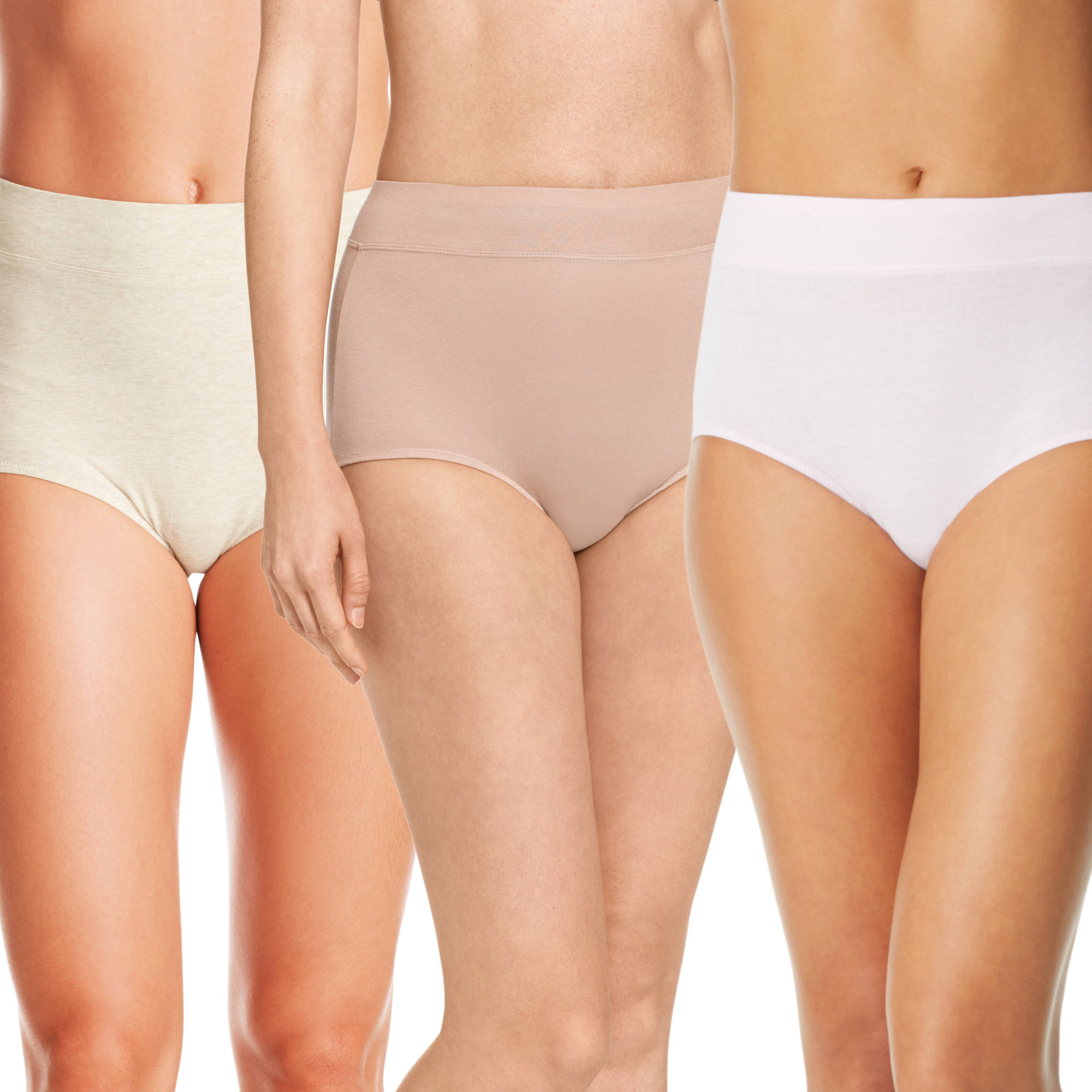 Blissful Benefits by Warner's No Muffin Top Cotton Brief Panties 3PK