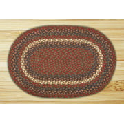 Earth Rugs C-40 Burgundy / Gray Oval Braided Rug 8 Feet x 11 Feet