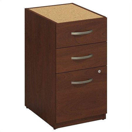 Fluted Cherry Pedestal - Bush BBF Series C Elite 16W 3 Drawer Pedestal in Hansen Cherry