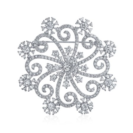 Large Winter Swirl Holiday CZ Cubic Zirconia Scarf Christmas Statement Snowflake Brooch Pin For Women Silver Plate Brass