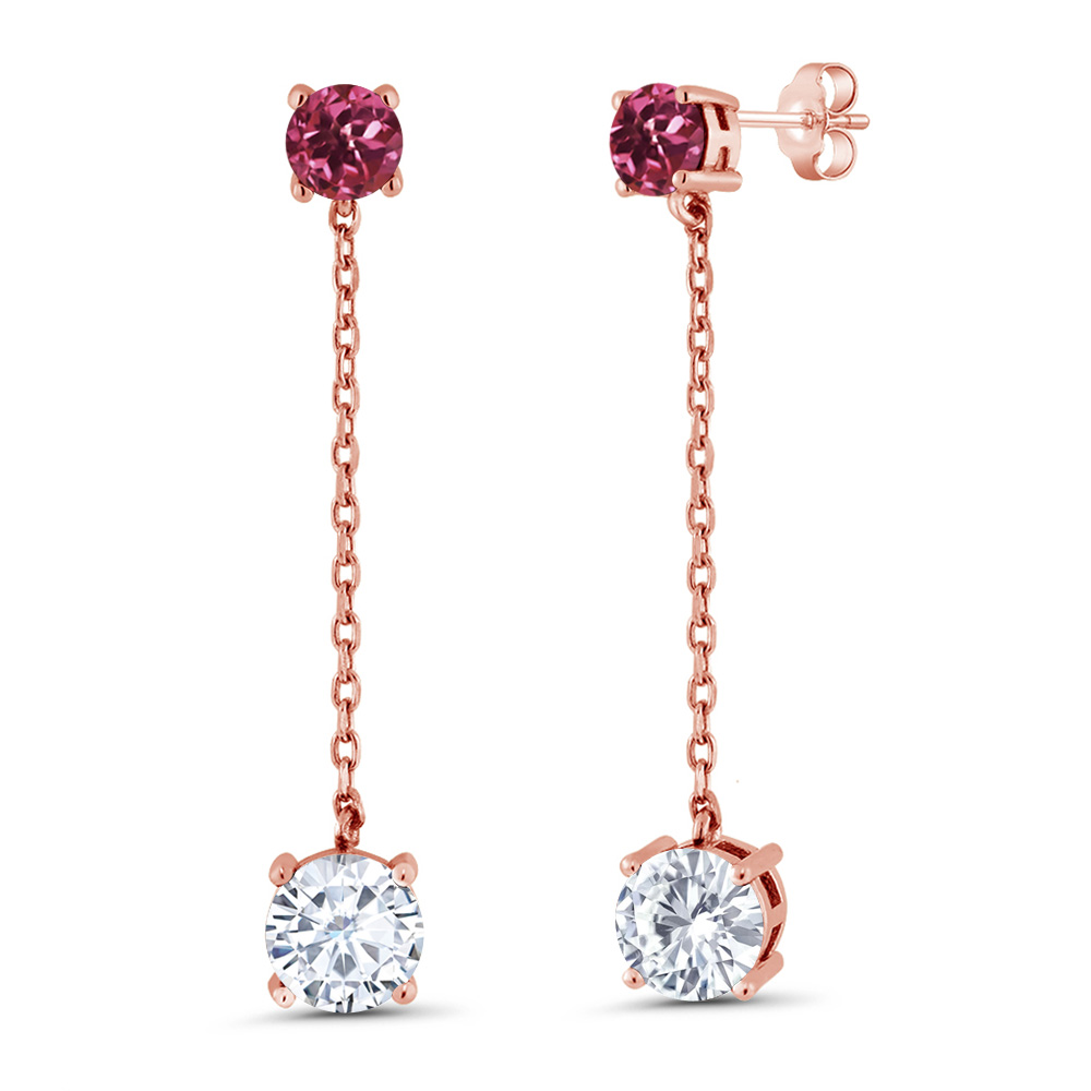 3.20 Ct Created Moissanite Pink Tourmaline 18K Rose Gold Plated Silver Earrings by