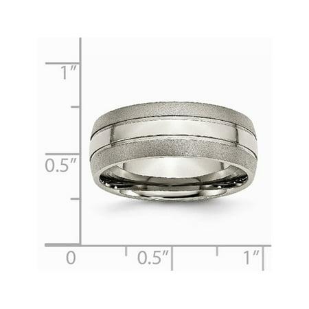 Mens Chisel 8mm Titanium Grooved Brushed Wedding Band - image 4 de 5