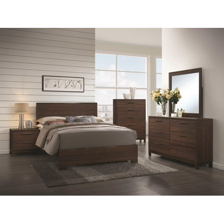 Transitional Style Rustic Wood Finish Queen Size Bed 4pc Set Wooden Simple  Dresser Mirror Nightstand Bedroom
