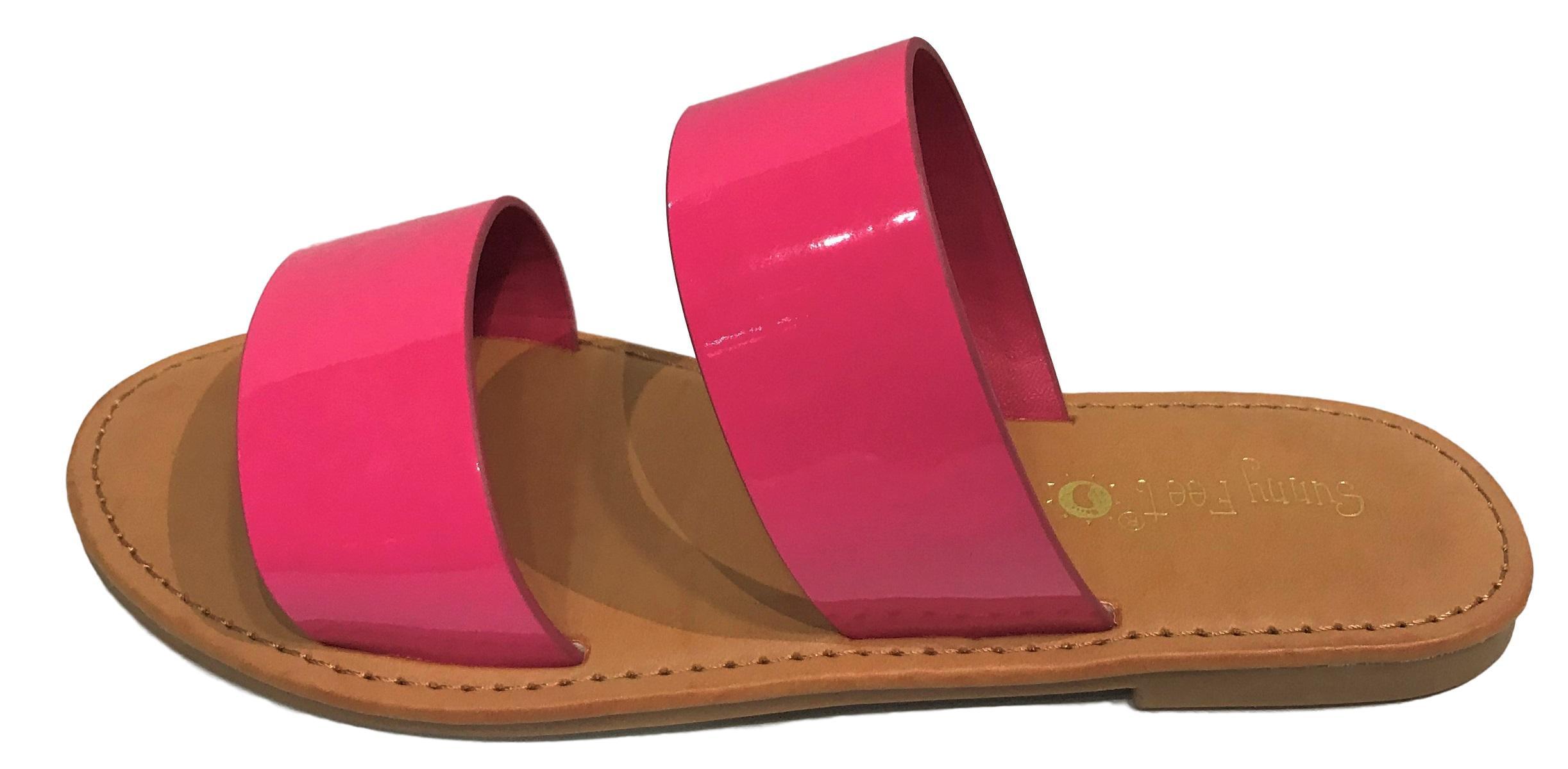 d1ab500e7 Sunny Feet - Coastline-64S Women Open Toe Slip On Double Band Flip Flops  Slide Flat Sandal Patent Fuschia - Walmart.com