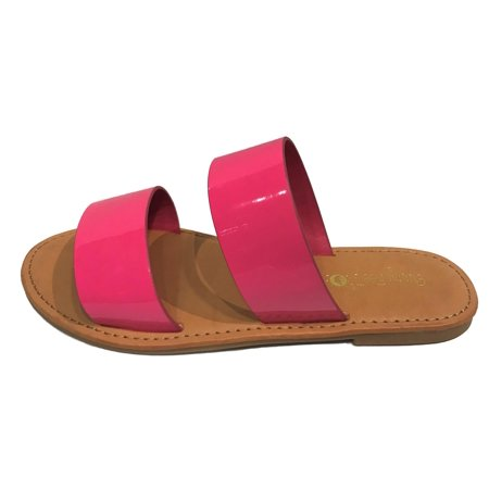4fc17bcf37c7 Coastline-64S Women Open Toe Slip On Double Band Flip Flops Slide Flat  Sandal Patent