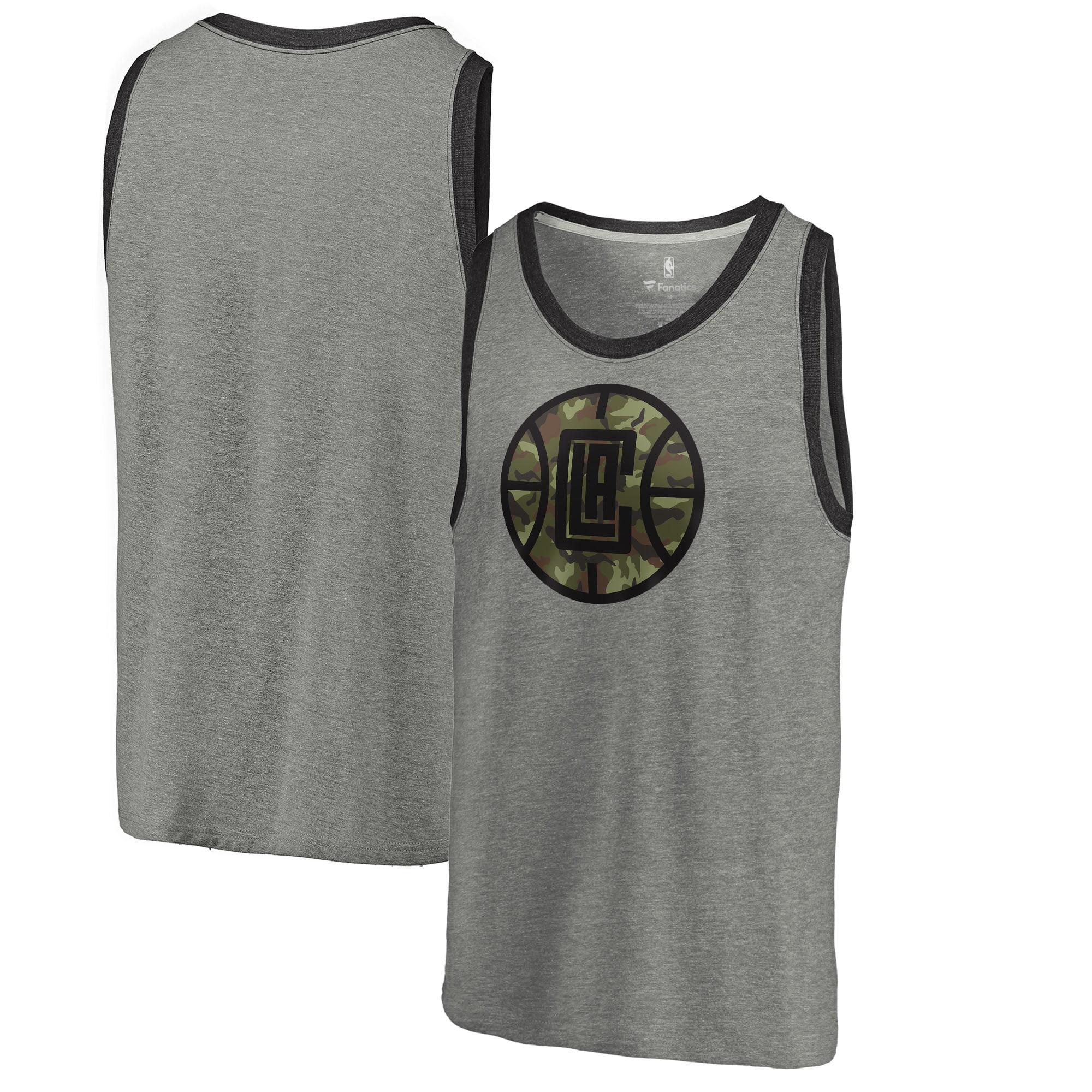 LA Clippers Fanatics Branded Camo Collection Prestige Tri-Blend Tank Top - Heathered Gray