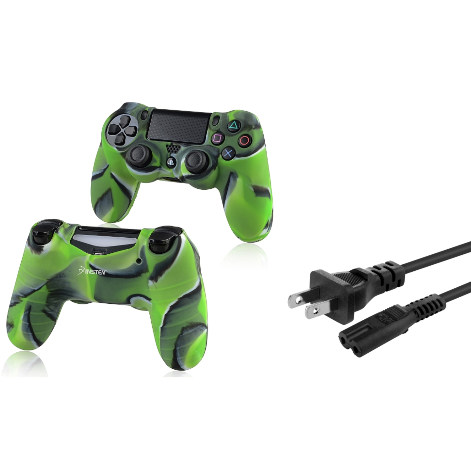 Insten US 2-Prong Port AC Power Cord\/Cable+Camouflage Navy Green Skin Case Cover for Sony PS4 Playstation 4