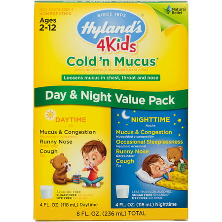 (2 pack) Hyland's 4 Kids Cold 'n Mucus Day & Night Value Pack, Natural Relief of Cold & Mucus, 8