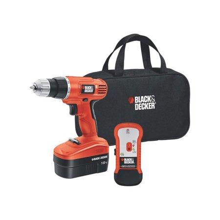 BLACK+DECKER 18-Volt Nicad Cordless Drill + Stud Finder & Bag,
