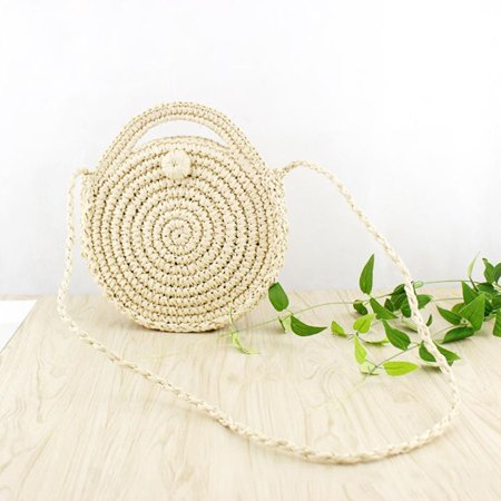 Women Girls Straw Bag Woven Round Handbag Purse Crossbody Beach Summer Bags Hand-woven Bag ()