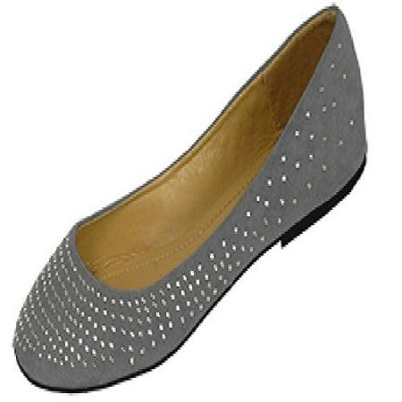 86ea9b50c Shoes8teen - Shoes 18 Womens Faux Suede Rhinestone Ballerina Ballet Flats  Shoes (5 6