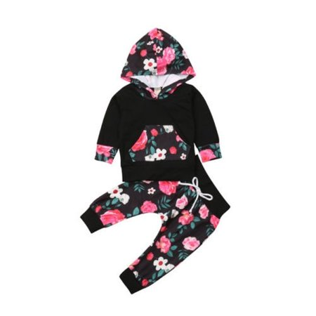 The New Hot Selling 2Pcs Newborn Toddler Baby  Girls Hooded Tops+Pants Set Kids Clothes Outfits - Hot Girl Kids