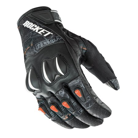 Street Riding Gloves - Joe Rocket Cyntek Street Style Orange Leather & Textile Motorcycle Riding Glove 1551 Colors/Sizes