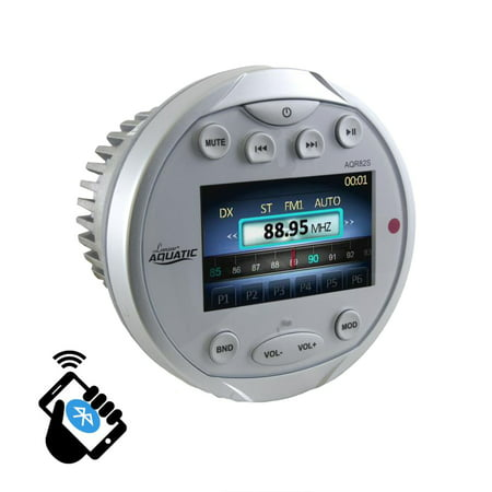 BT Marine Media Receiver Stereo Radio (USB/MP3, AUX, Video Inputs) AM/FM Radio, Round/Circle, Silver