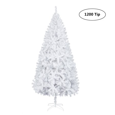 Zimtown 7.5FT 1200 Branches Christmas Tree Xmas Solid Metal Legs Perfect Indoor Outdoor Holiday Decoration (White)