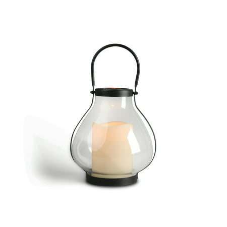 10.3-Inch Tall Metal School House Lantern with LED Candle and 5-hour Time Feature ()