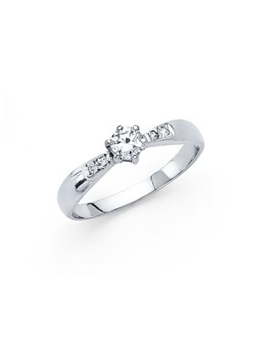 14K Solid White Gold Polished Cubic Zirconia Round Cut Wedding Engagement Ring with Side Stones, Size 6.5