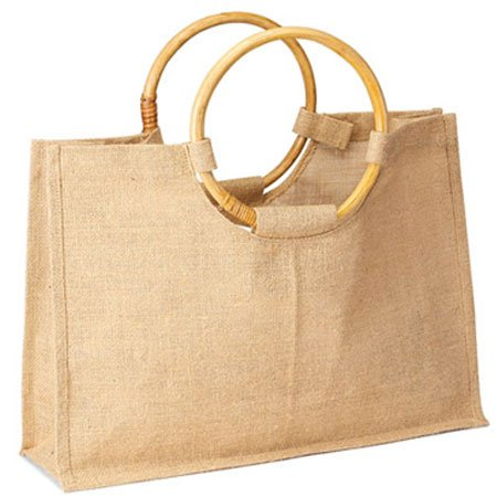 Pack of 25-Eco-friendly Women shopping tote with round cane handles all  natural in color size 17.5