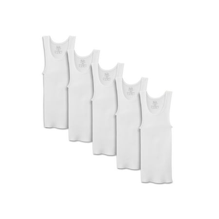 Fruit of the Loom White Tank A-Shirts, 5 Pack (Little Boys & Big Boys) ()