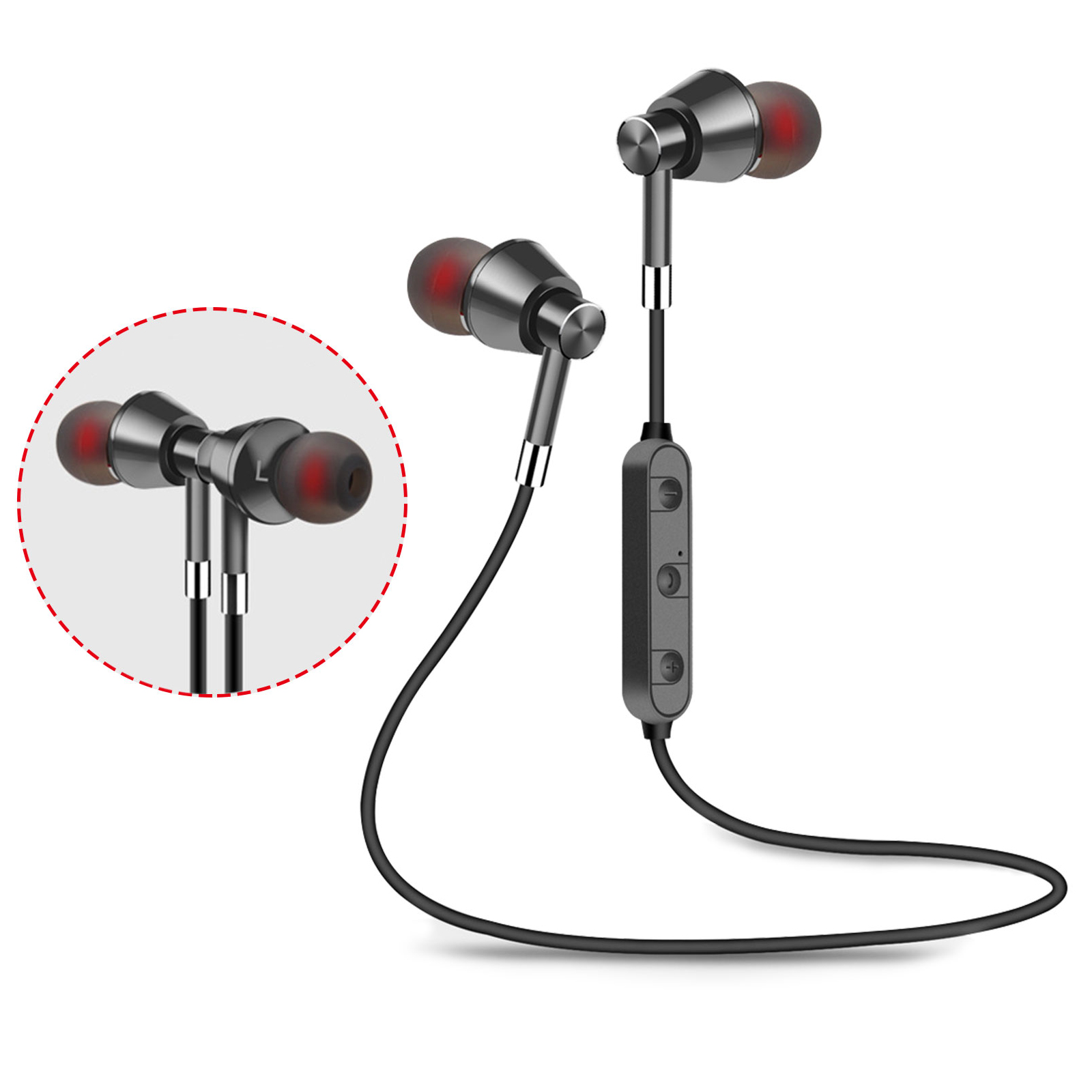 EEEKit Wireless Bluetooth Magnetic Earphones, Sweatproof Sport Earbuds with Data Cable, Waterproof Lightweight Gym Headset with Built-in Mic