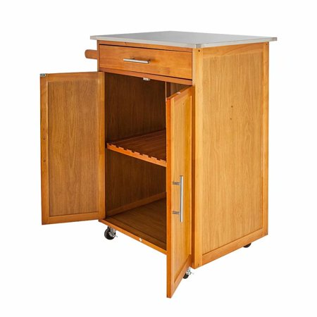 Akoyovwerve Wooden Moveable Rolling Kitchen Island Dining Cart with Drawers  & Baskets Stand Storage, Brown