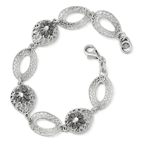 Sterling Silver 7.5in Diamond Cut and Textured Flower Bracelet