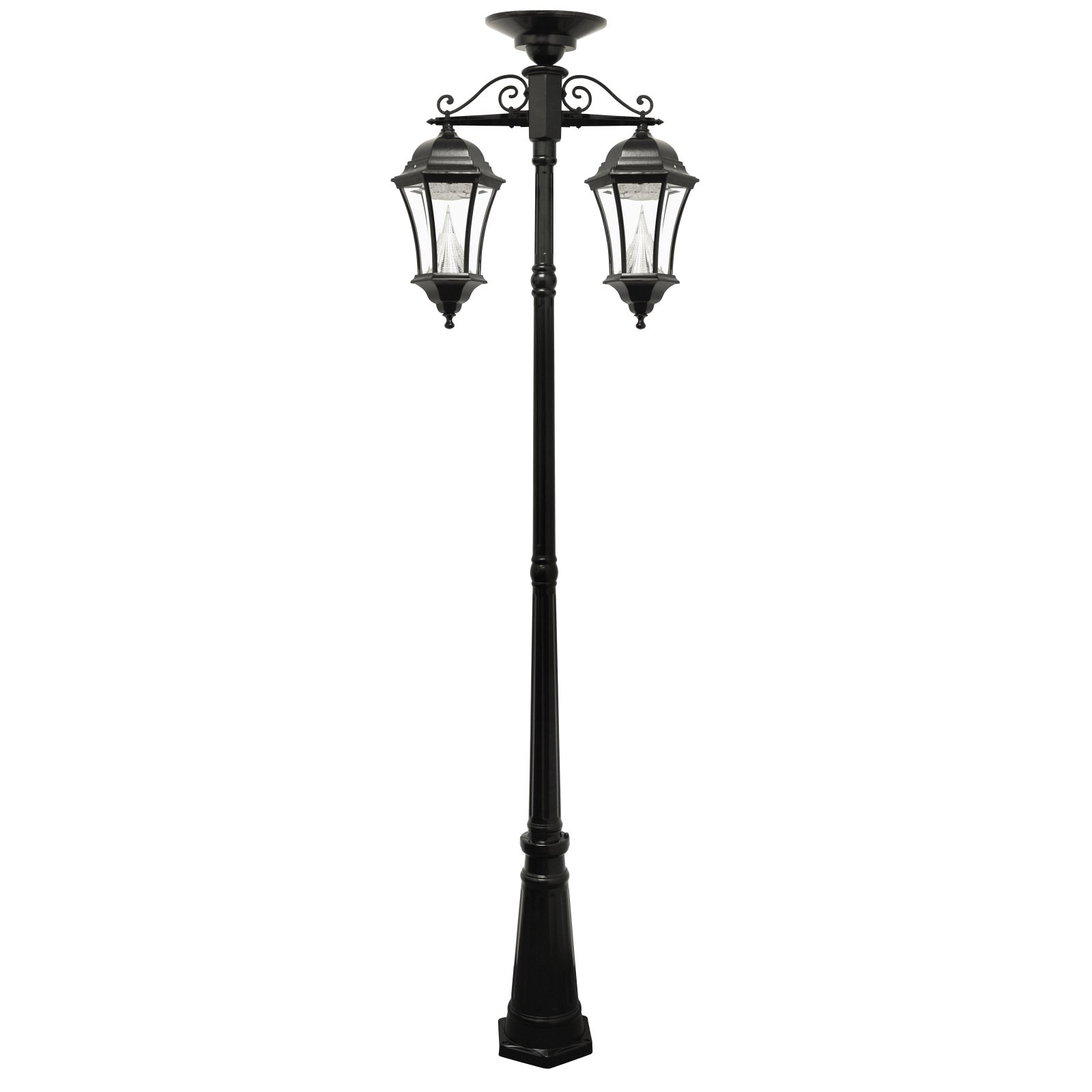 Gama Sonic Victorian Solar Lamp Post Double Downward Hanging LED Lamps