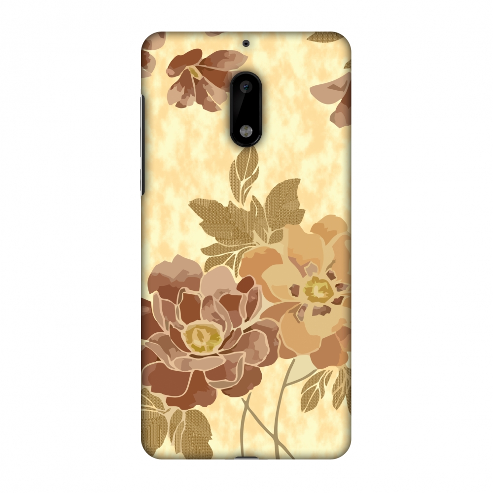Nokia 6 Case - Poster floral and textured leaves- Honey oat, Hard Plastic Back Cover, Slim Profile Cute Printed Designer Snap on Case with Screen Cleaning Kit