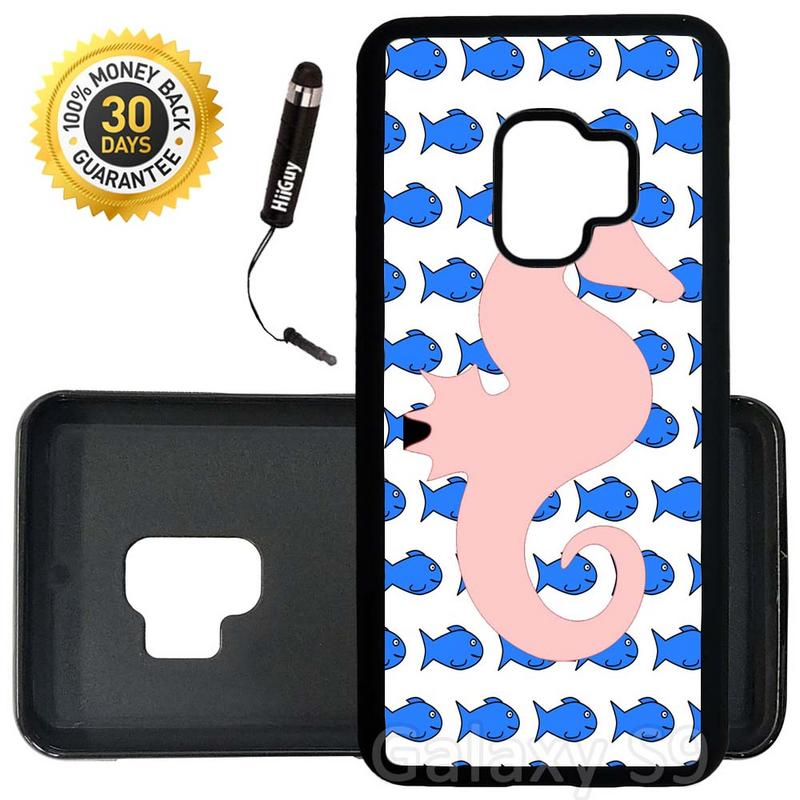 Custom Galaxy S9 Case (Coral Seahorse Fish) Edge-to-Edge Rubber Black Cover Ultra Slim | Lightweight | Includes Stylus Pen by Innosub