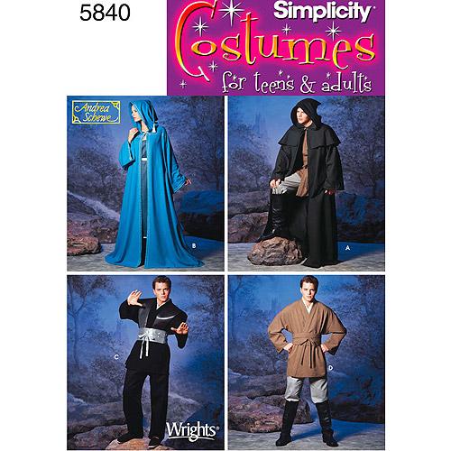 Simplicity Pattern Unisex Capes/Men's Fantasy Costumes, (XS, S, M, L, XL)