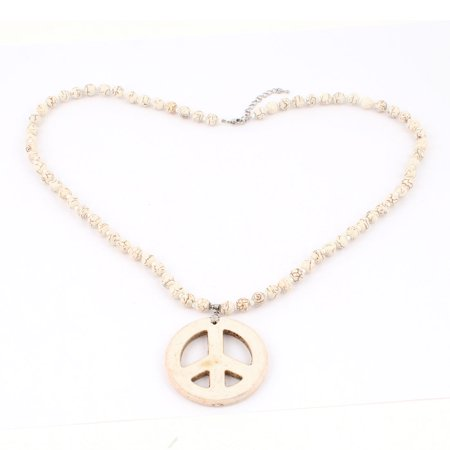 Peace Sign Dangling Pandent Turquoise Stone Beads Necklace Beige for Women - image 2 de 2
