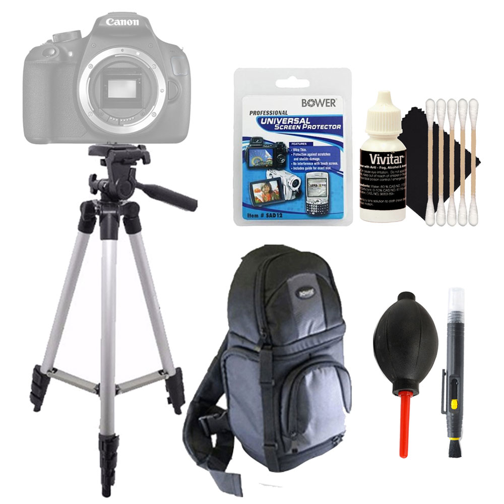 Tall Tripod + Universal Screen Protector & Top Accessory Cleaning Kit For All Canon Cameras