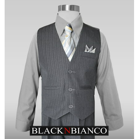Custom Fit Pinstripe Suit - Boys Grey Pinstripe Vest Suits with Matching Tie