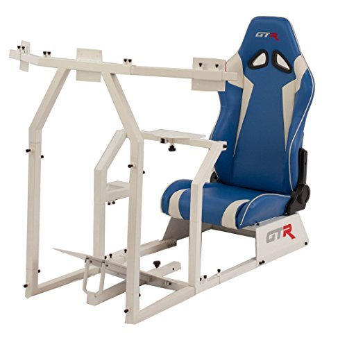 GTR Racing Simulator GTAF-WHT-S105LBLWHT - GTA-F Model (White) Triple or Single Monitor Stand with Blue/White Adjustable Leatherette Seat, Racing Simulator Cockpit gaming chair Single Monitor Stand
