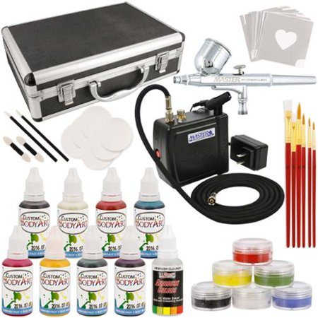 Master Airbrush Deluxe Face and Body Painting Kit with 16 Water-Based Airbrush Colors, 6 - 10ml Face Paint Colors, Brush