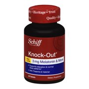 Schiff Knock-Out, 50 tablets -  Natural Sleep Aid Supplement with Melatonin, Theanine and Valerian