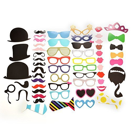 Yosoo 58Pcs DIY Funny Colorful Props On A Stick Mustache Photo Booth Party Fun Wedding Favor Christmas Birthday Prom Decoration Vintage Fun Gift