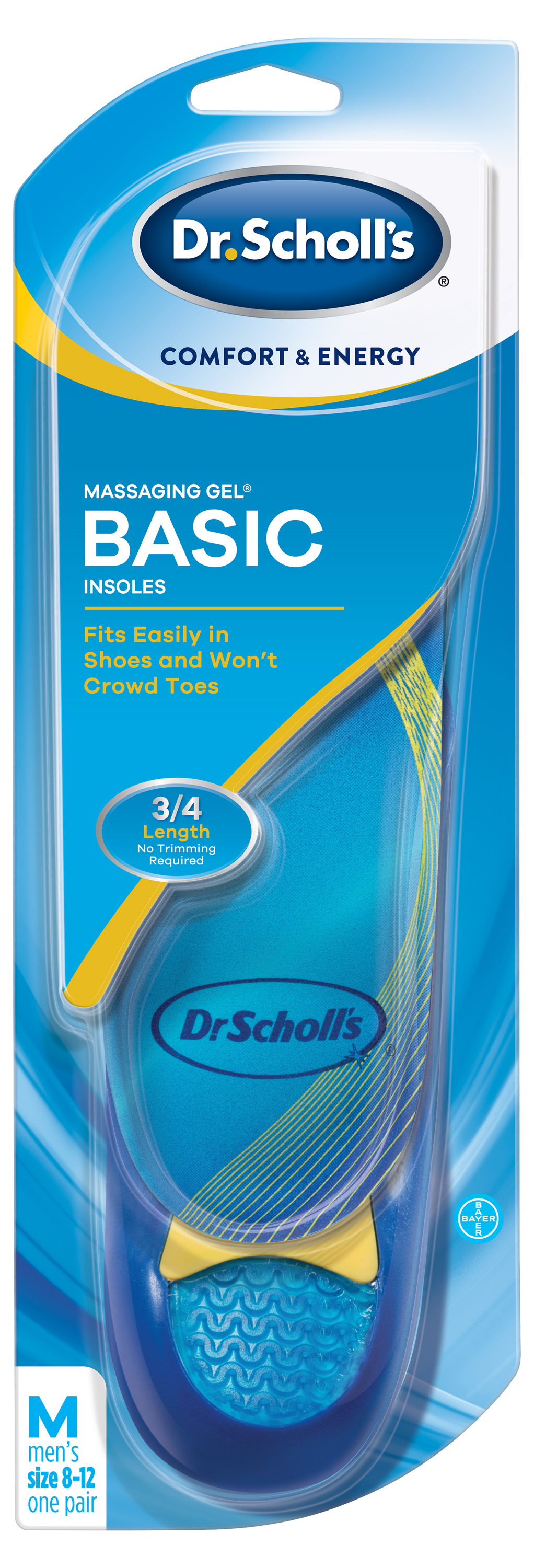 Dr. Scholl's Comfort & Energy Massaging Gel Basic Insoles for Men by Bayer Consumer Products