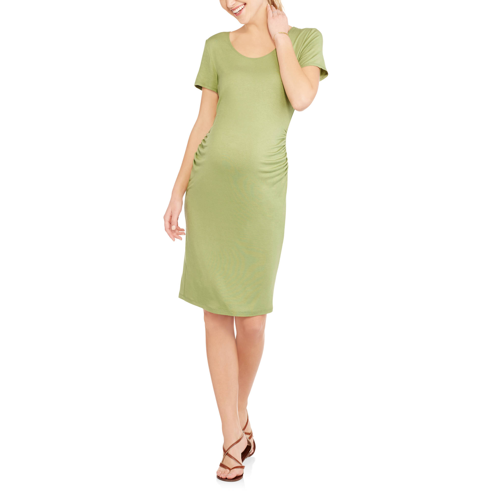 Glamour & Co. Maternity Short Sleeve Midi Dress with Flattering Side Ruching