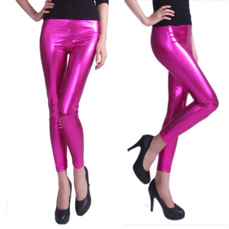 c974ede987 HDE Women's Shiny Leggings Metallic Wet Look Stretch Pants Clubwear  (Purple, X-Large)