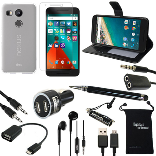 Nexus 5x Case, DigitalsOnDemand ® 11-Item Accessory Kit for Google Nexus 5X - Leather Case, TPU Cover, Screen Protector, Stylus, USB Cable, Car Charger, OTG, Aux, Travel Bag, Earphones & Splitter