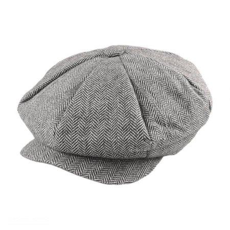 Herringbone Wool Blend Big Apple Cap - ONE SIZE FITS MOST - Gray (Apple Jack Caps)